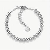 Rhodium Plated Small Bead Bracelet