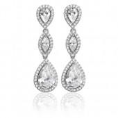 Sterling Silver Drop Cz Earrings
