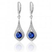 Sterling Silver Sapphire Blue Cz Earrings