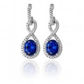 Sterling Silver Infinity Sapphire Blue Cz Earrings