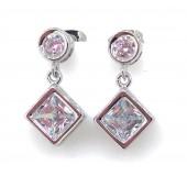 Antica Silver Square Drop Earrings