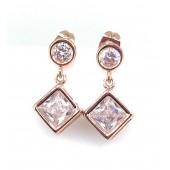 Antica Rose Gold Square Drop Earrings