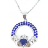 Antica Silver Sapphire Claddagh Pendant