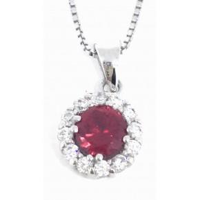 Sterling Silver cz Ruby Pendant