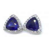 Sterling Silver  Sapphire Cz Earrings
