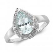 Diamond Pear Shape Aquamarine Ring