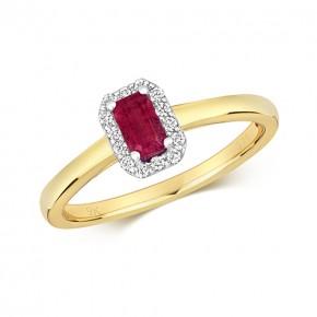 9k Diamond Ruby Ring