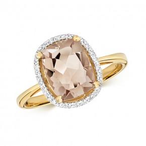 9k Diamond Morganite Ring
