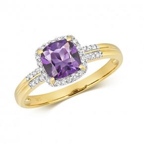 9k Diamond Amethyst Ring