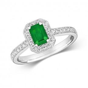 18k Diamond Emerald Ring