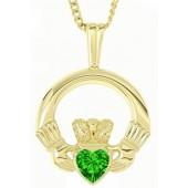 10ct Gold Claddagh Emerald Pendant