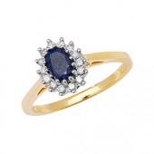 Diamond Cluster 6x4 Oval Sapphire