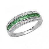Diamond & Square Emerald Band