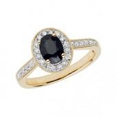 Diamond Cluster Oval Sapphire