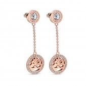 Rose Goldplate Earrings Clear Stones