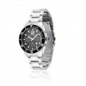 Mens Silver Black Dial Watch