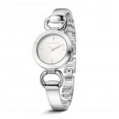 Ladies Silverplate Solid & Link Bracelet Watch