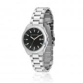 Mens Silver Watch Black Dial