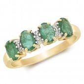 Diamond & 4 Oval Emerald