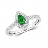 Diamond Cluster Pear Emerald