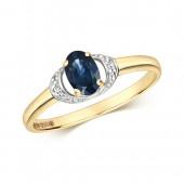 DIAMOND & OVAL SAPPHIRE RING