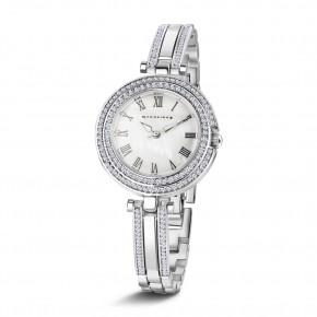 Ladies Silverplate Watch Clear Stones