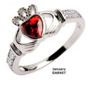 January Birthstone Claddagh Ring