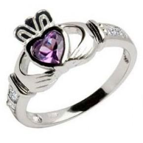February Birthstone Claddagh Ring