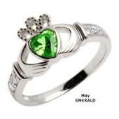 May Birthstone Claddagh Ring