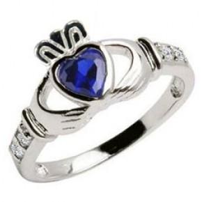 September Birthstone Claddagh Ring